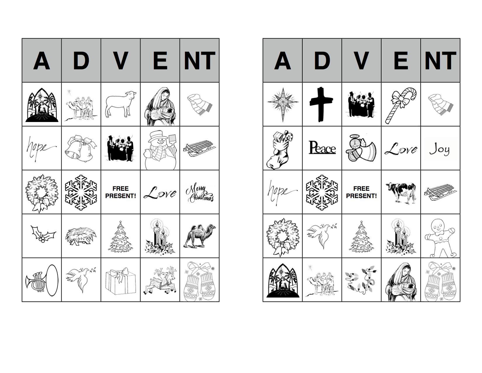 4 Images of Advent Bingo Printable