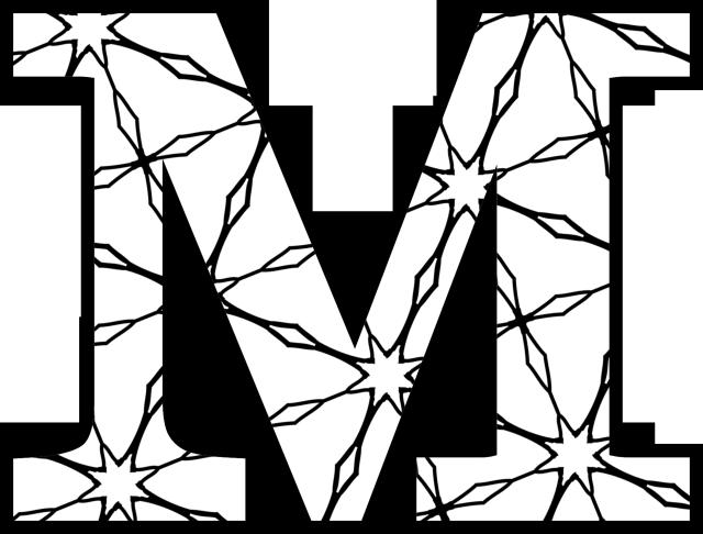Decorative Alphabet Coloring Pages : Alphabet m free colouring pages