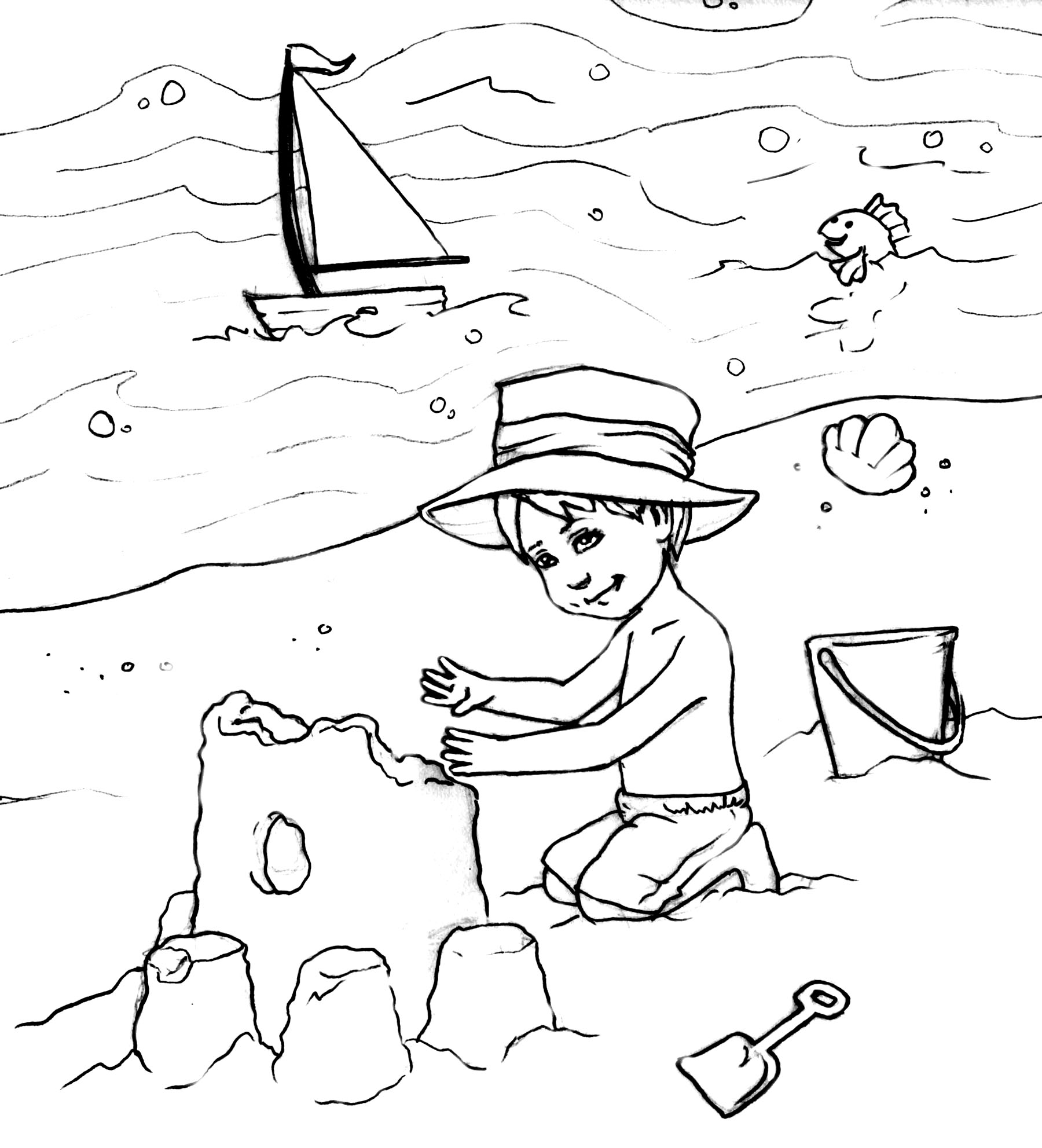6 Images of Printable Beach Coloring Pages