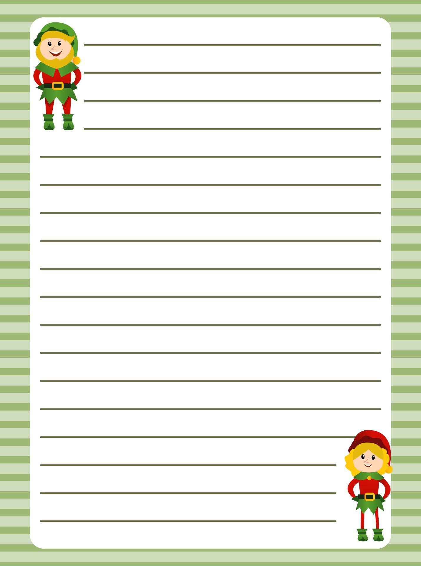 Printable Christmas Elf Writing Paper