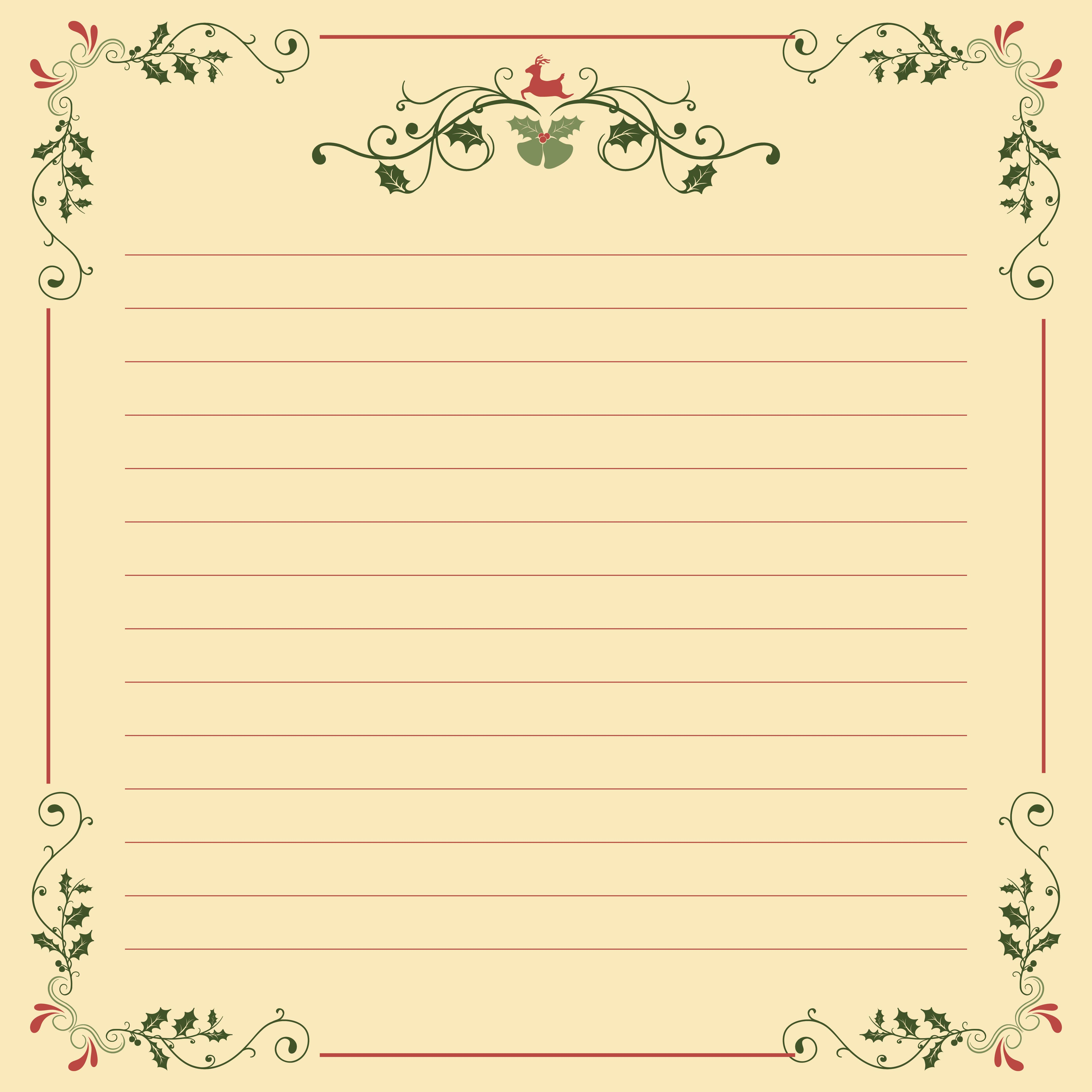 Printable Christmas Stationery Templates