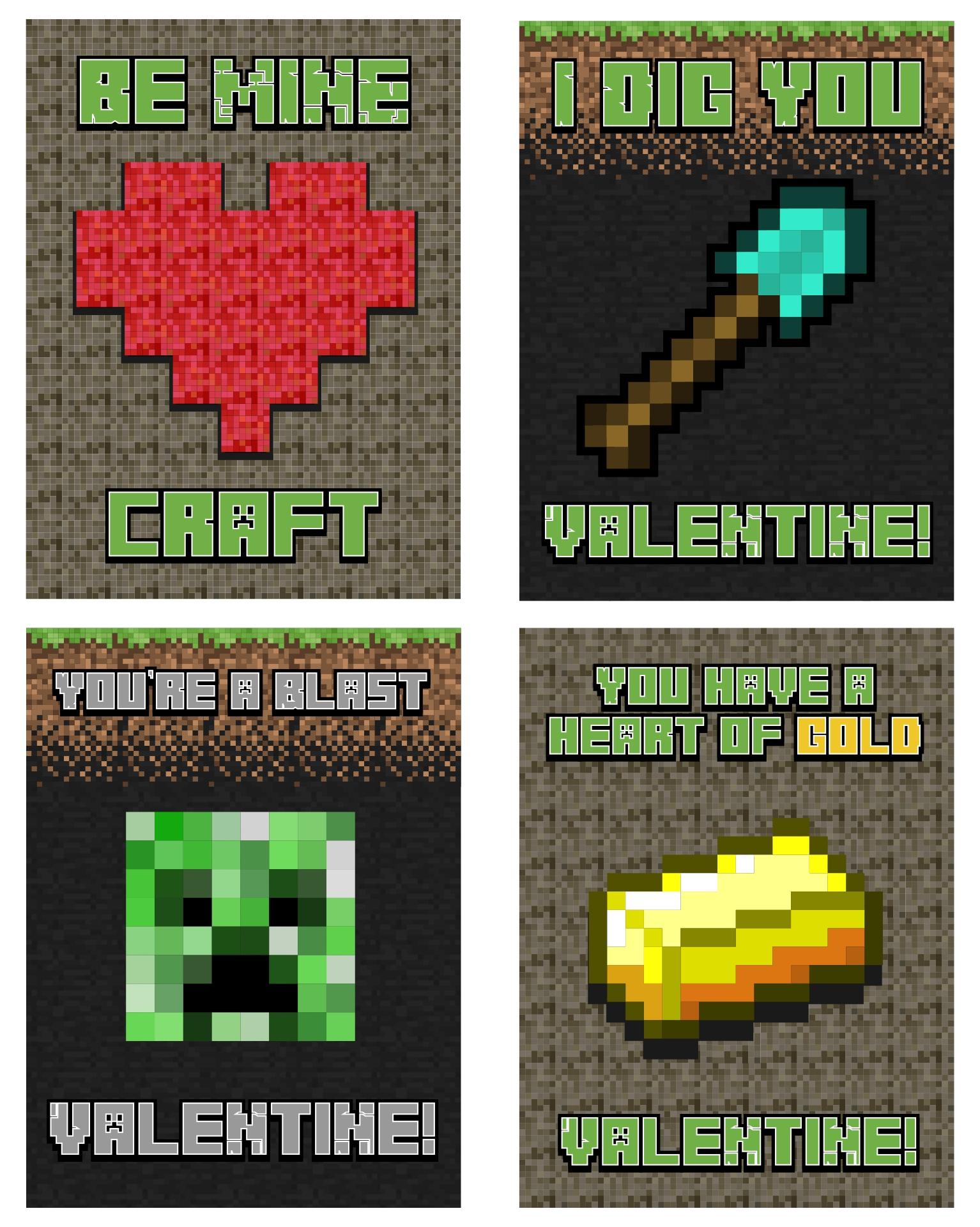 Printable Minecraft Valentines Day Cards