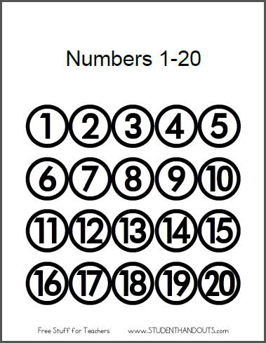 4 Images of Large Printable Numbers 1 20