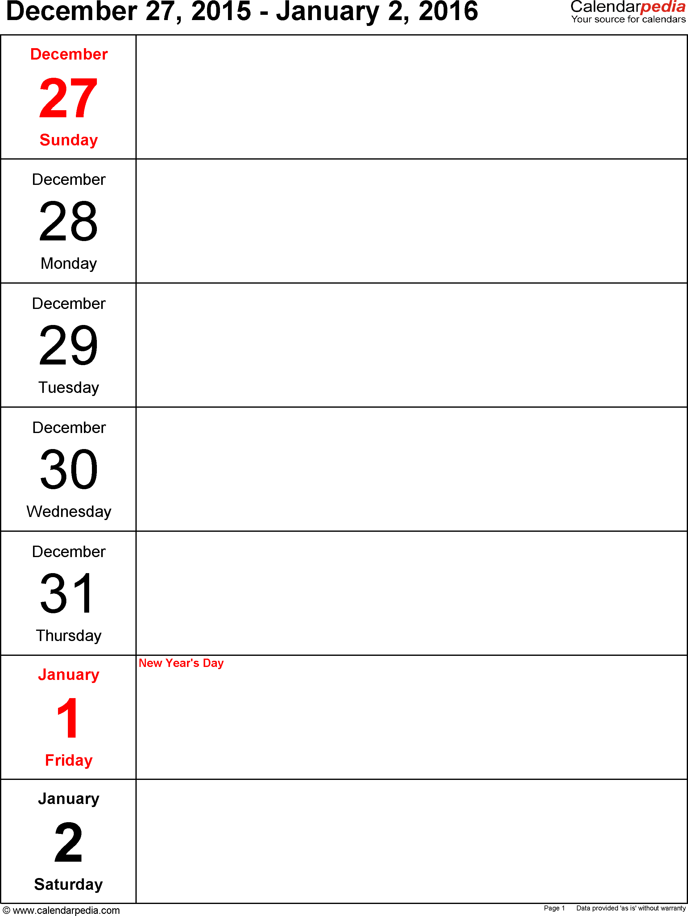 9 Images of Free Weekly Printable Calendar 2016