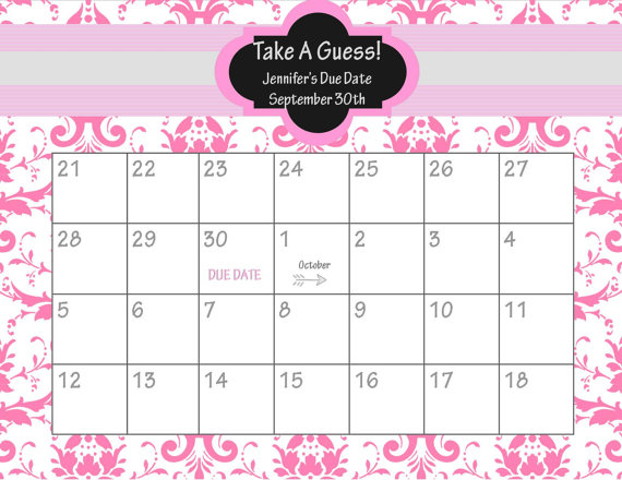 ... Baby Due Date Pool Chart and Guess Baby Due Date Calendar Printable