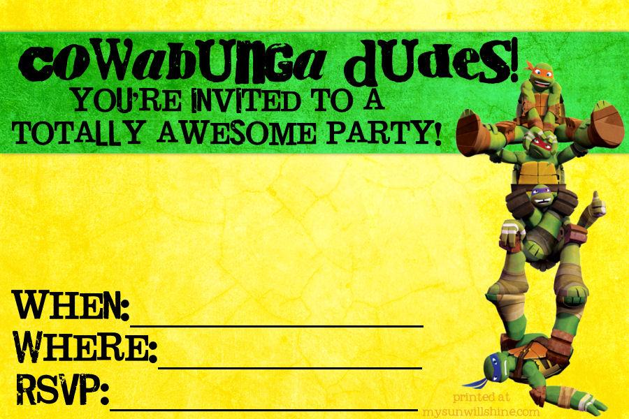 8 Images of Ninja Turtle Birthday Invitations Printable