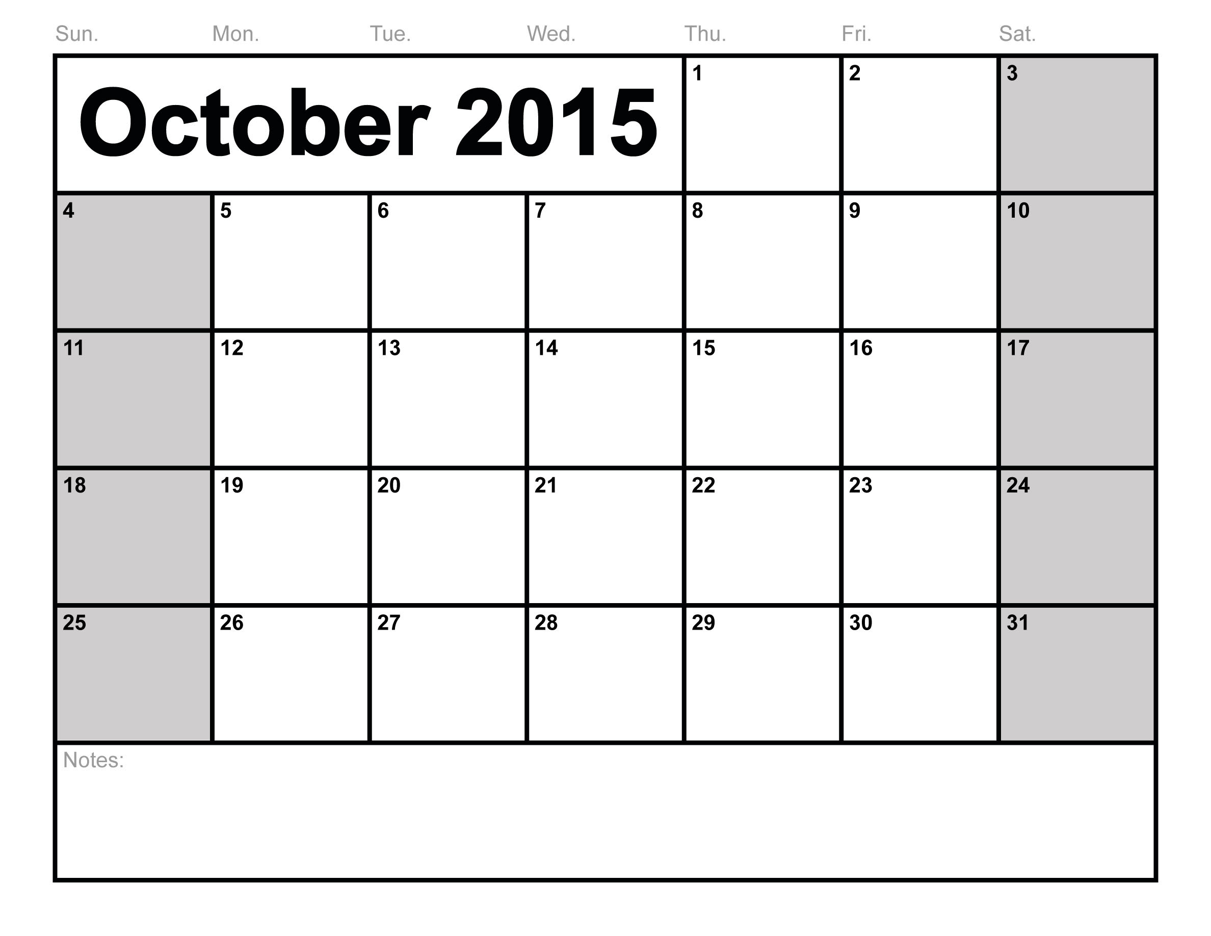 9 Images of Blank October 2015 Calendar Printable