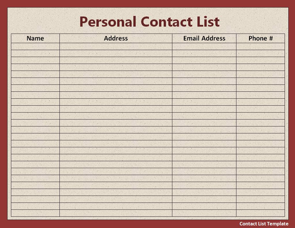 this printable student list has room to record parent names address