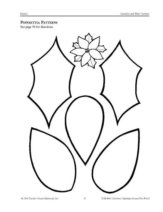 5 Images of Poinsettia Template Printable