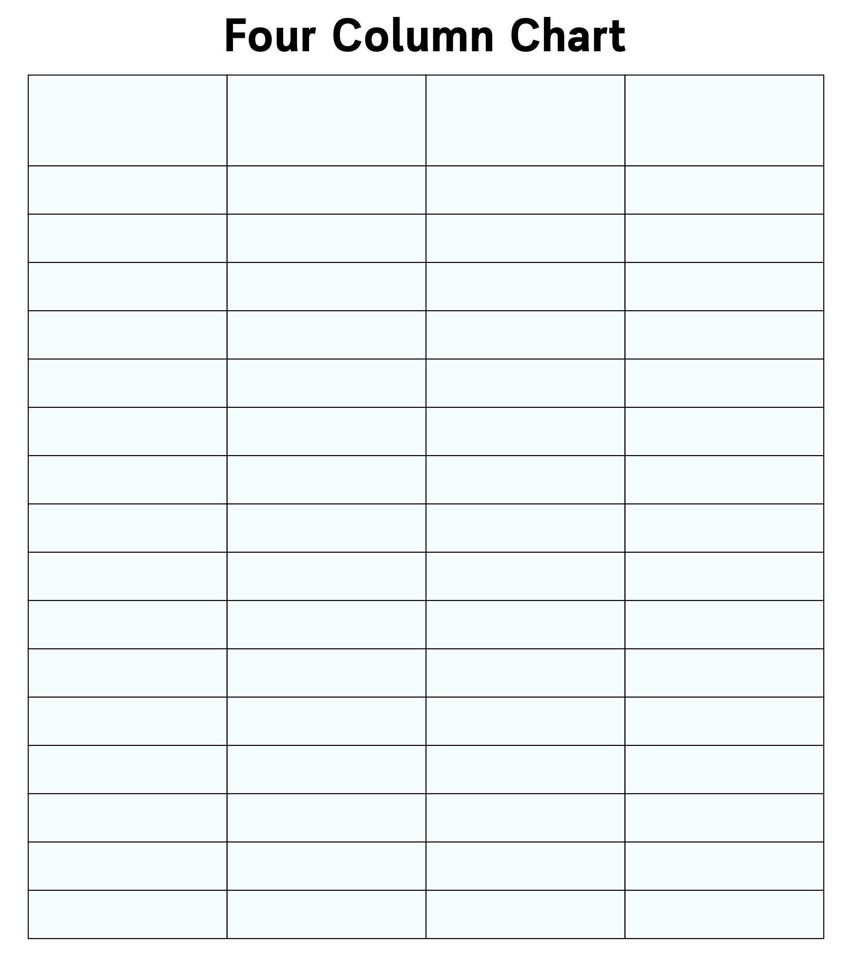 Printable 4 Column Spreadsheet