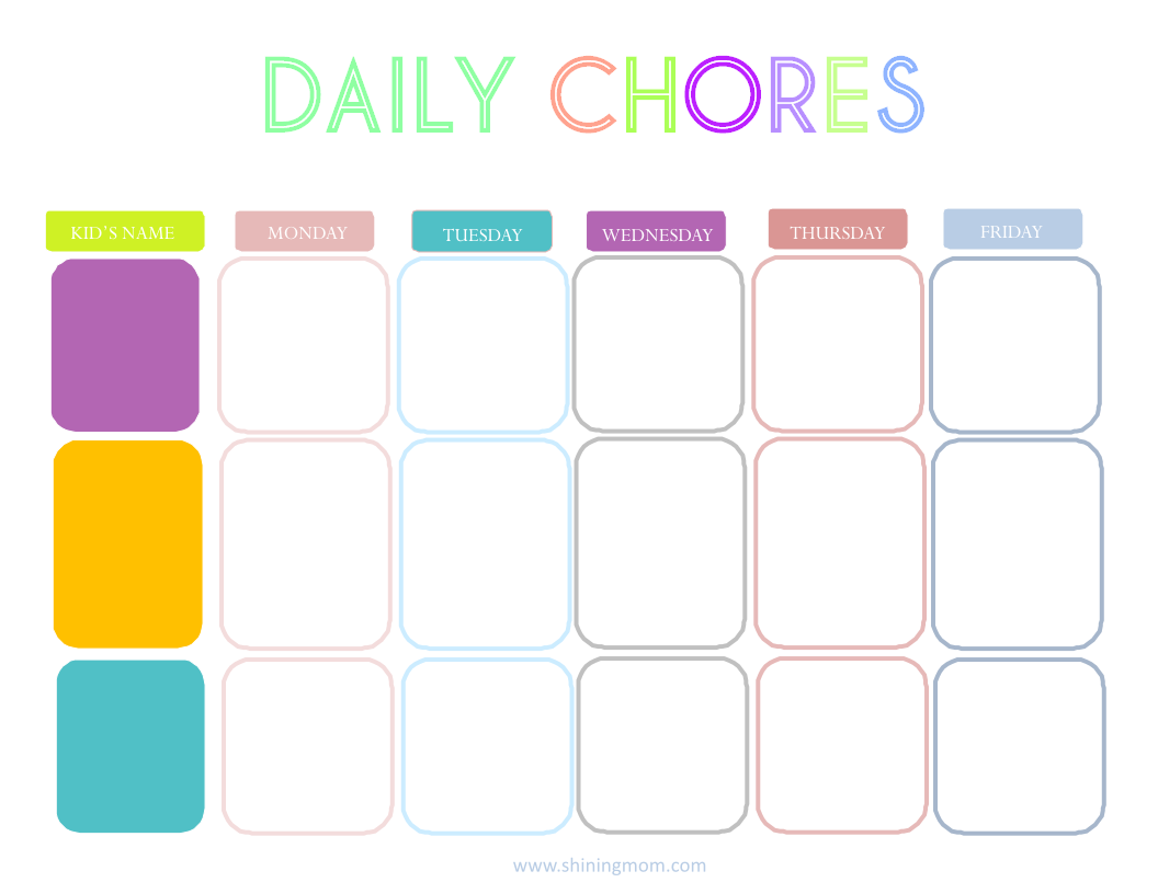 5 Images of Printable Daily Chore Charts