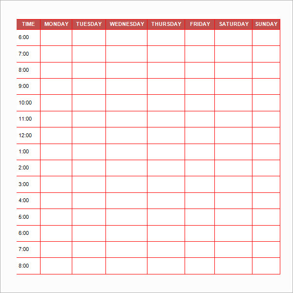 Printable Daily Schedule Template for Students