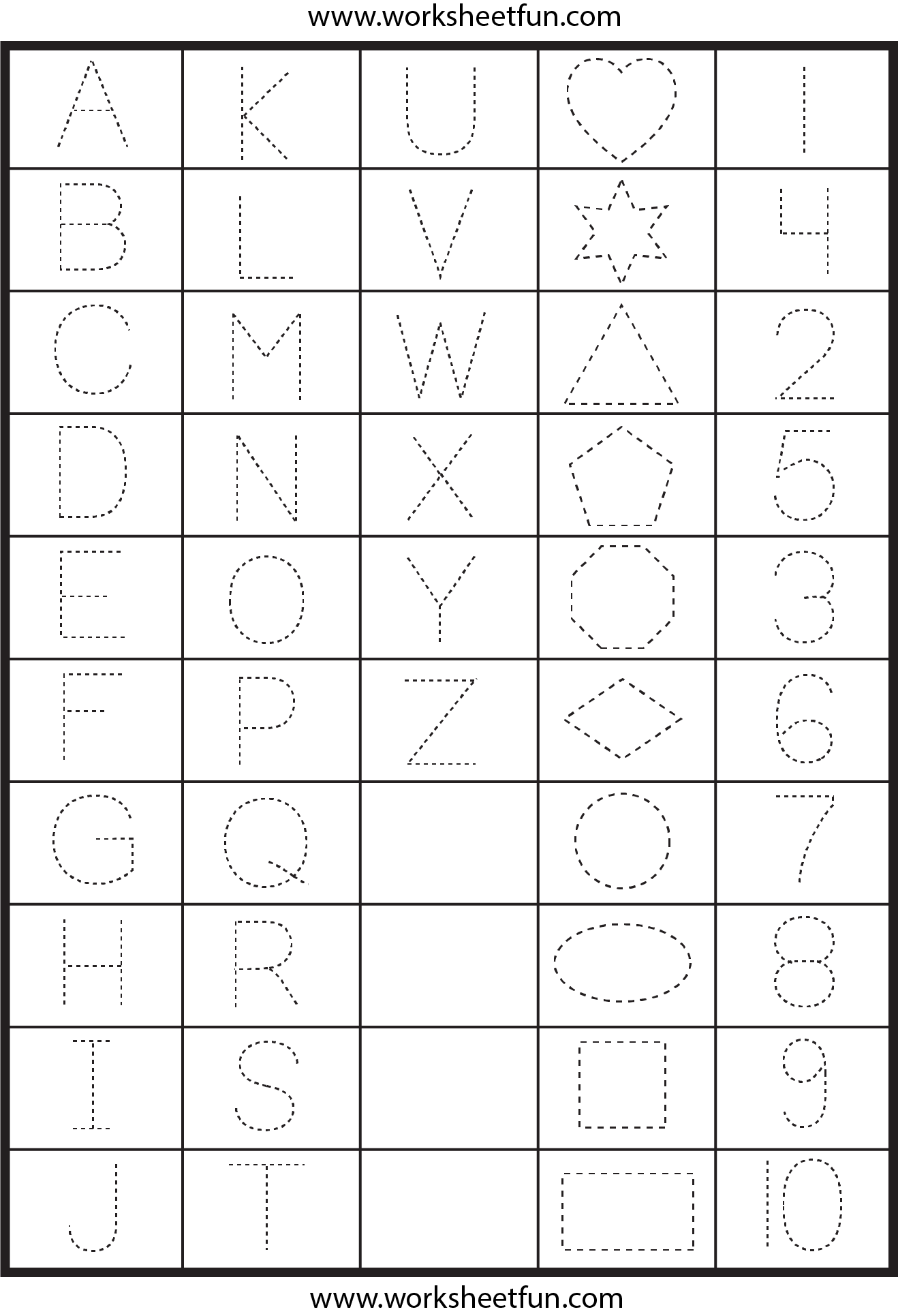 Printable Letter and Number Tracing Worksheets