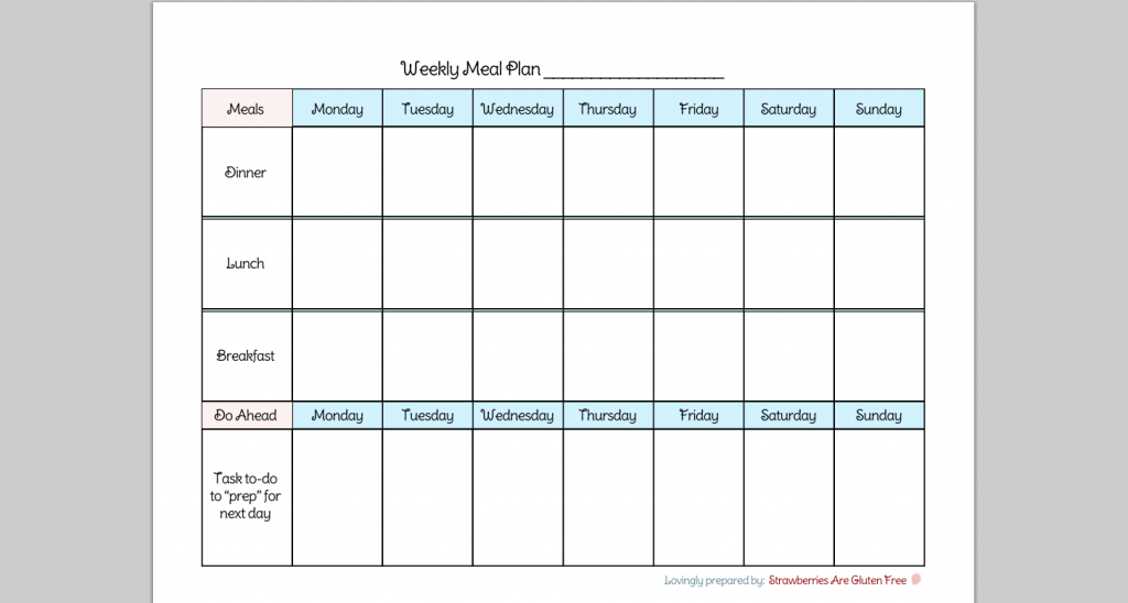 6 Images of Printable Meal-Planning Charts