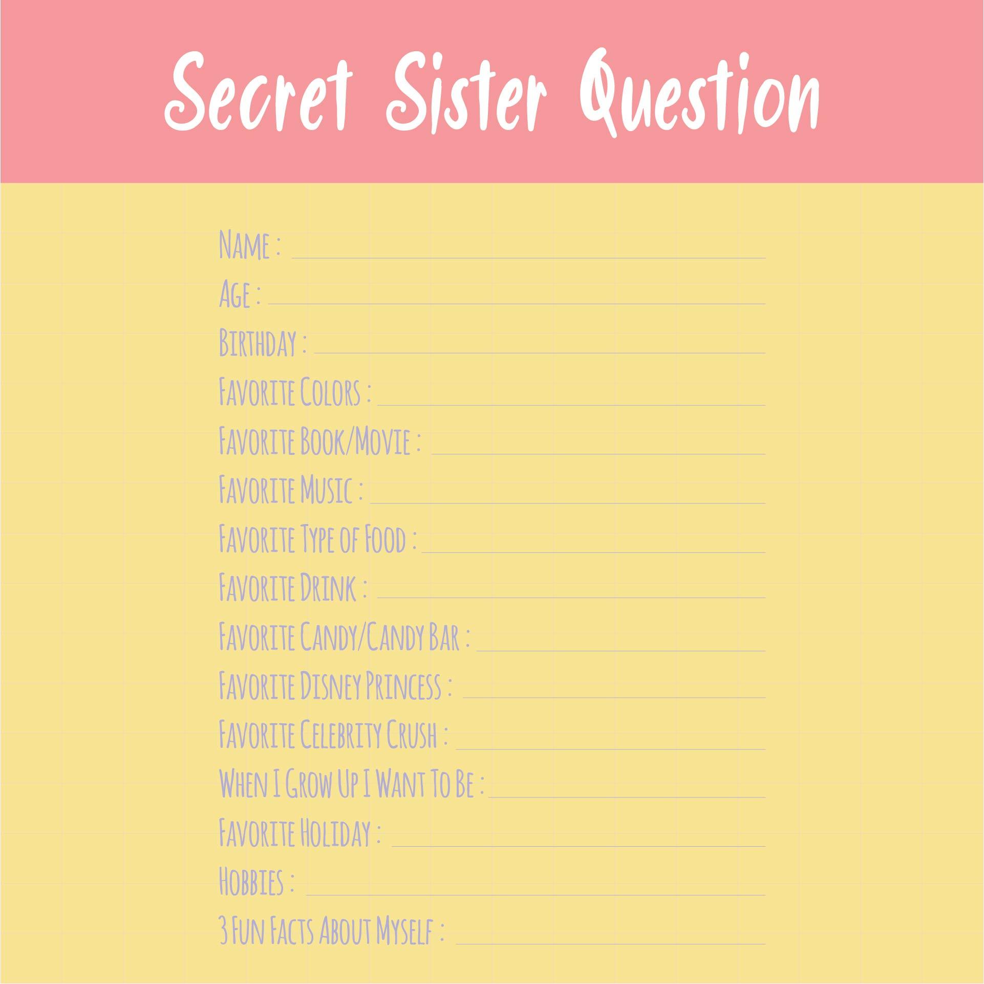 It is a photo of Divine Printable Secret Sister Questionnaire