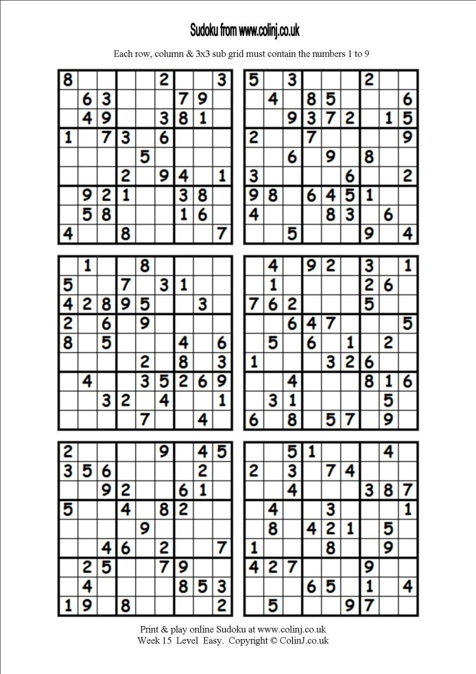 6 Best Images of Hard Sudoku Printable 6 Per Page