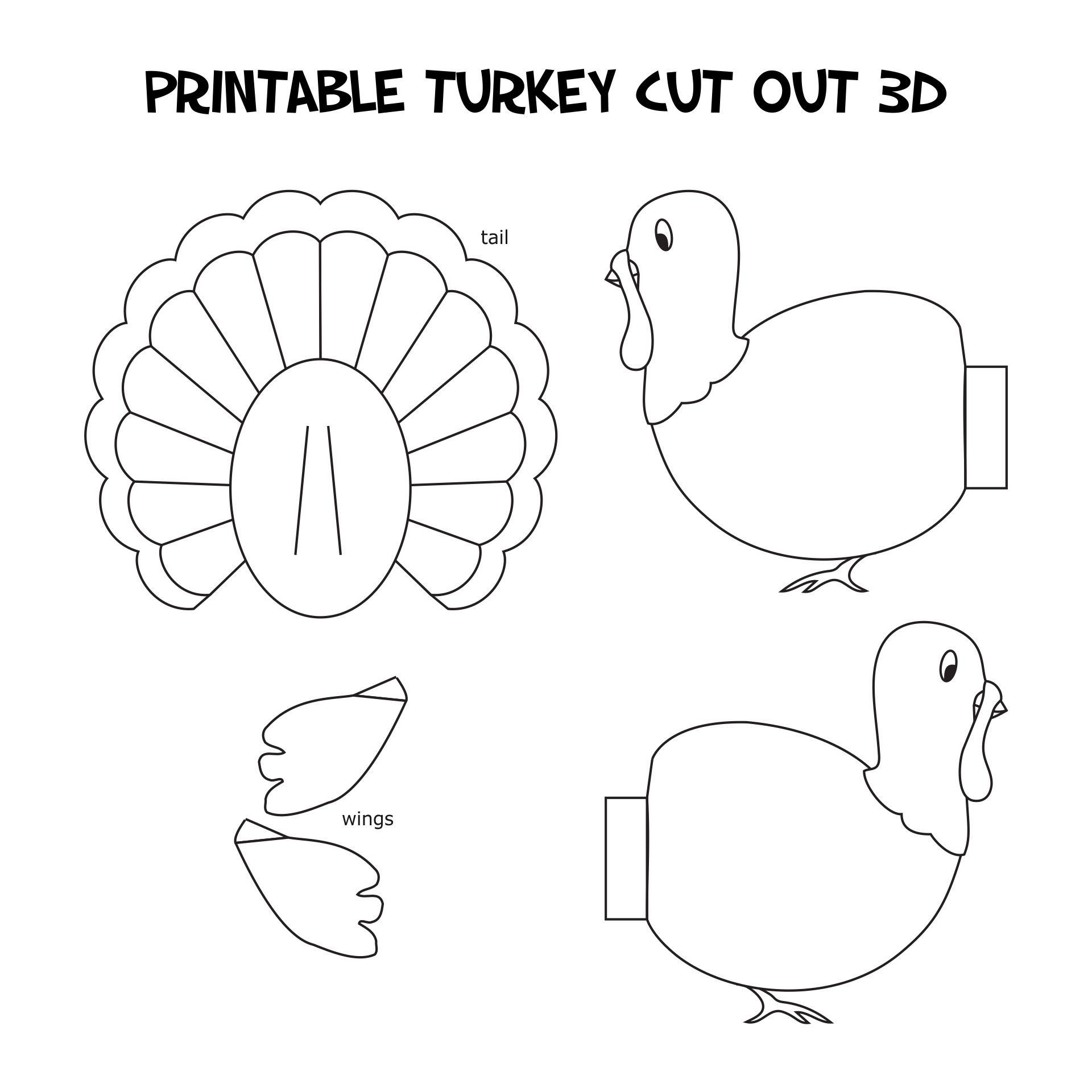 Printable Turkey Cut Out 3D
