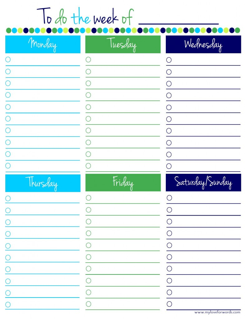 6 Images of Free Printable Weekly To Do List Template
