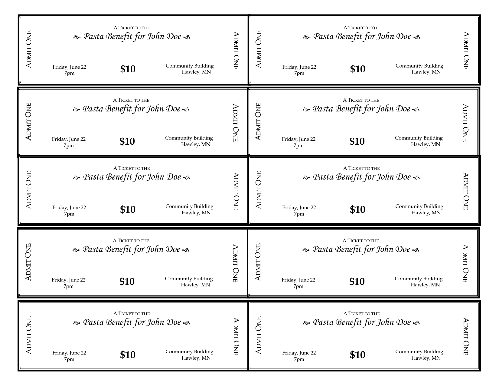 Doc500231 Printable Ticket Templates Free Printable Event – Printable Event Tickets