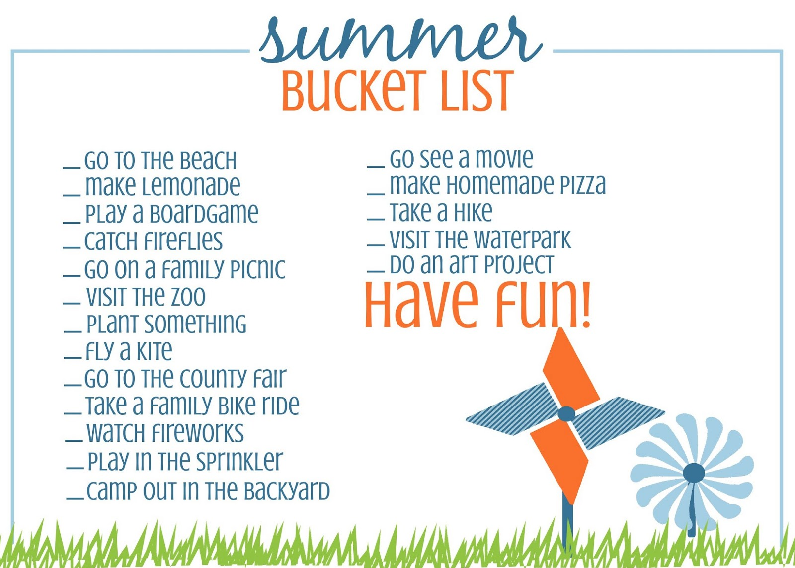5 Images of Printable Summer Bucket List