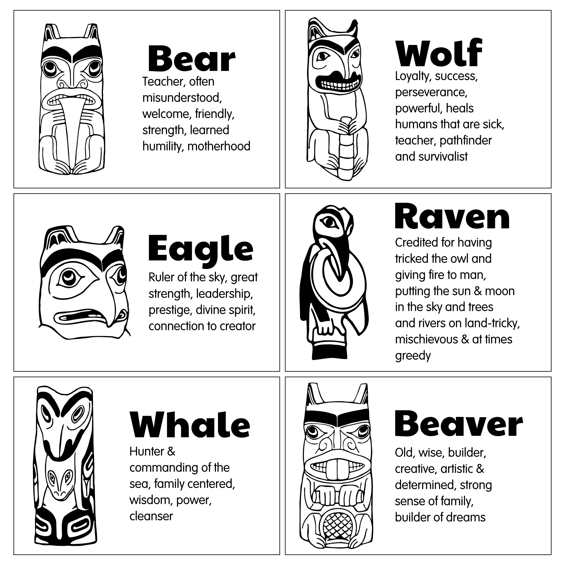 totem pole animals symbols meanings png 1275x1650 coloring animal totem symbols - Totem Pole Animals Coloring Pages