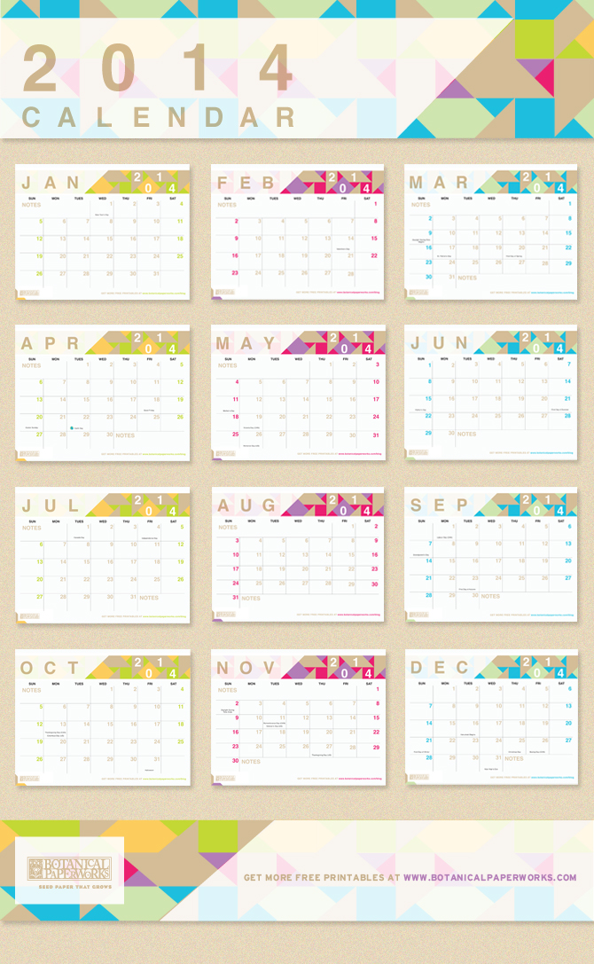 4 Images of Very Small Printable 2014 Calendar