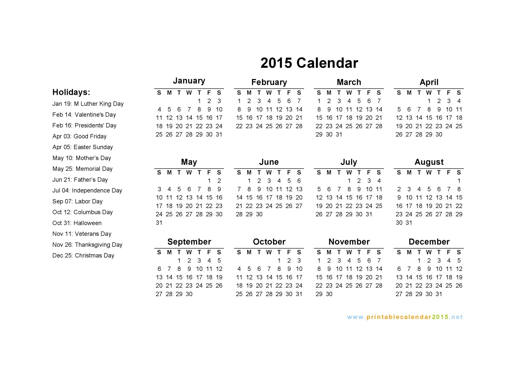 6 Images of Printable 2015 Calendar With Holidays