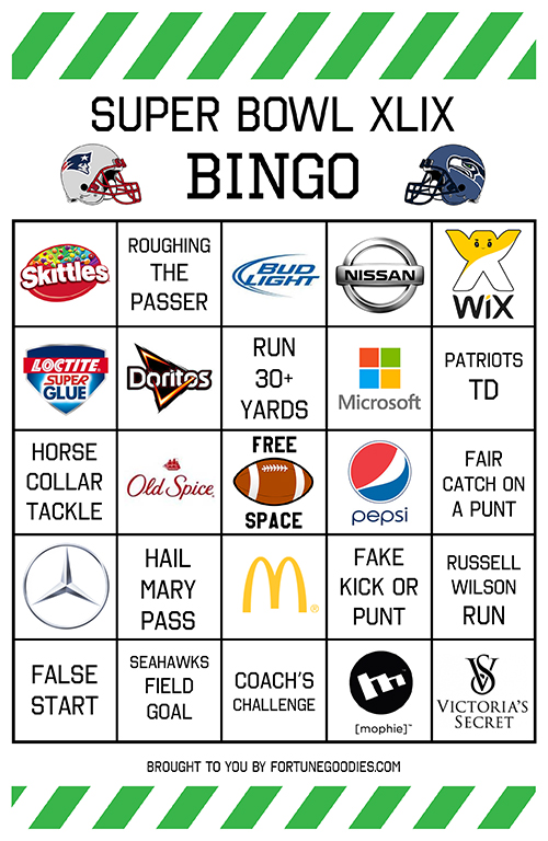9 Images of Printable 2015 Super Bowl Commercial Bingo