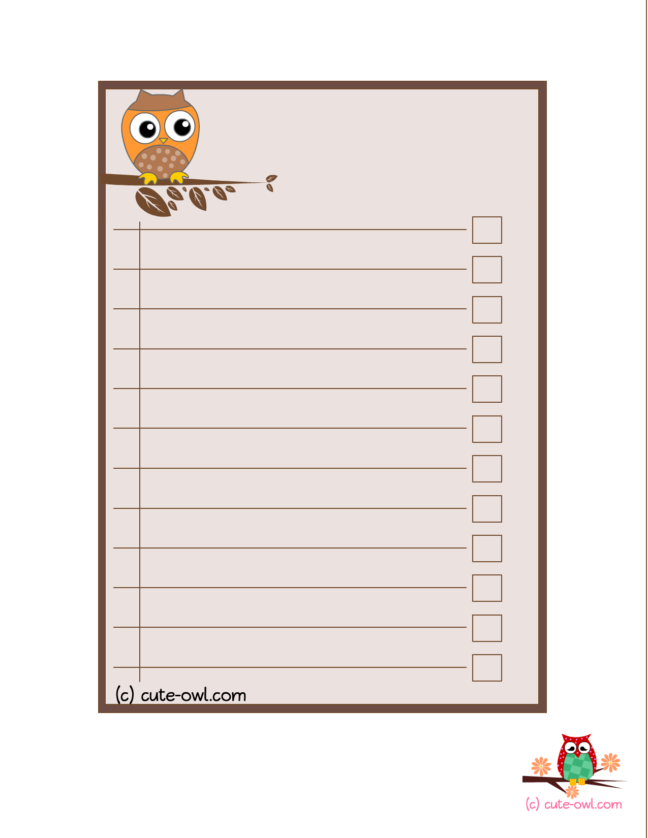 7 Images of Owl Printable To Do List