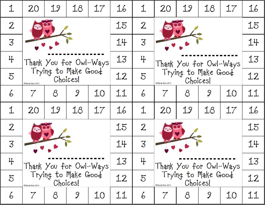 8 Images of Weekly Behavior Punch Card Printable