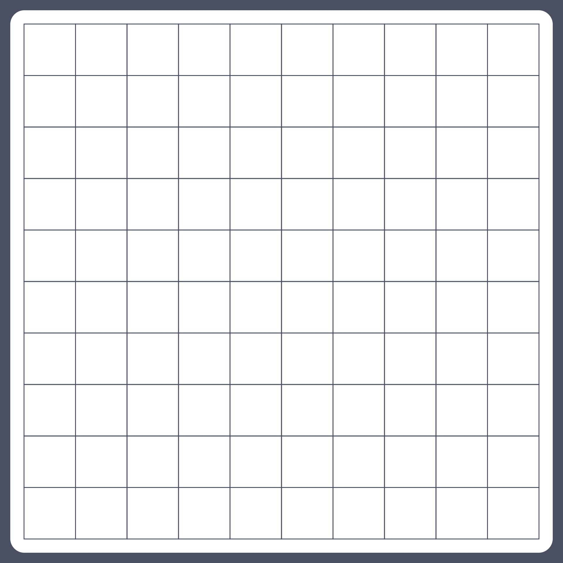 Blank 100 Square Grid Paper