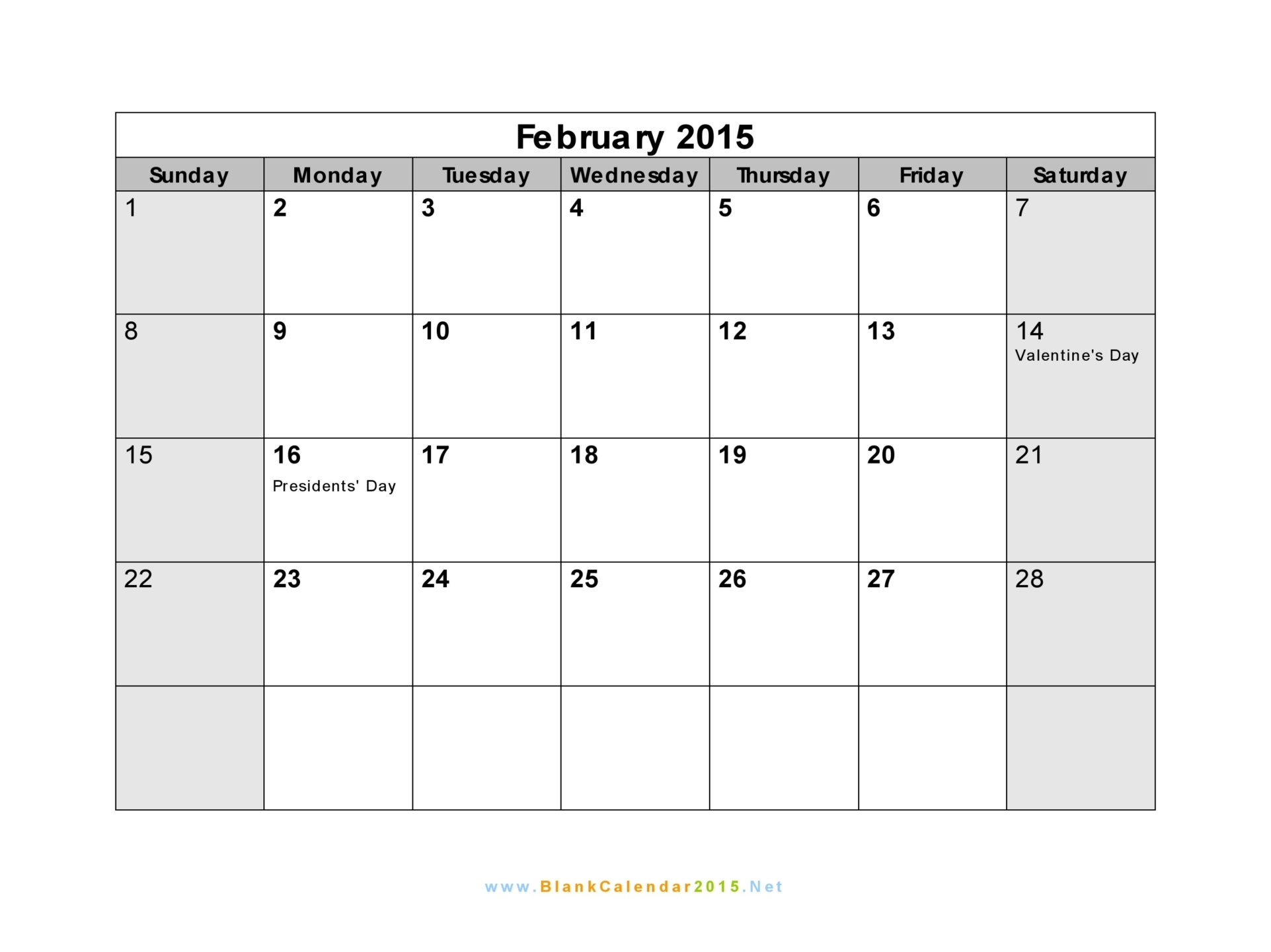 7 Images of Blank Feb 2015 Calendar Printable