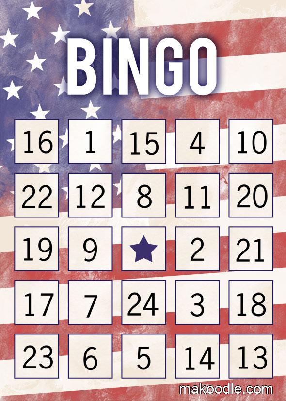 8 Images of Printable Patriotic Bingo Cards