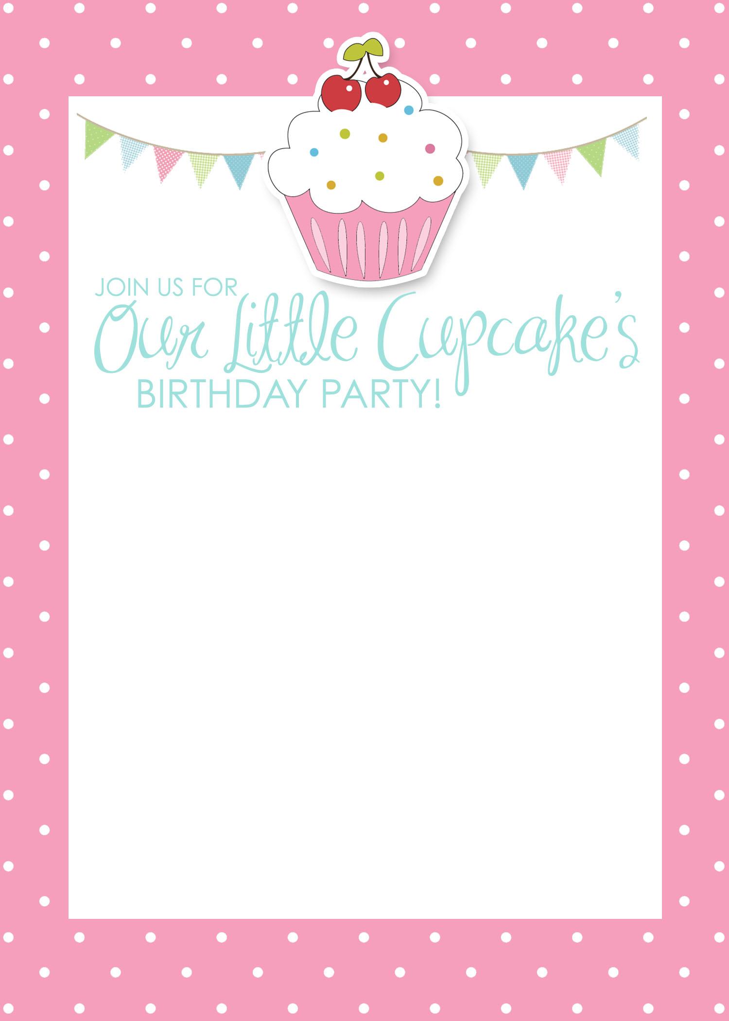 5 Images of Free Printable Birthday Cupcake Invitations