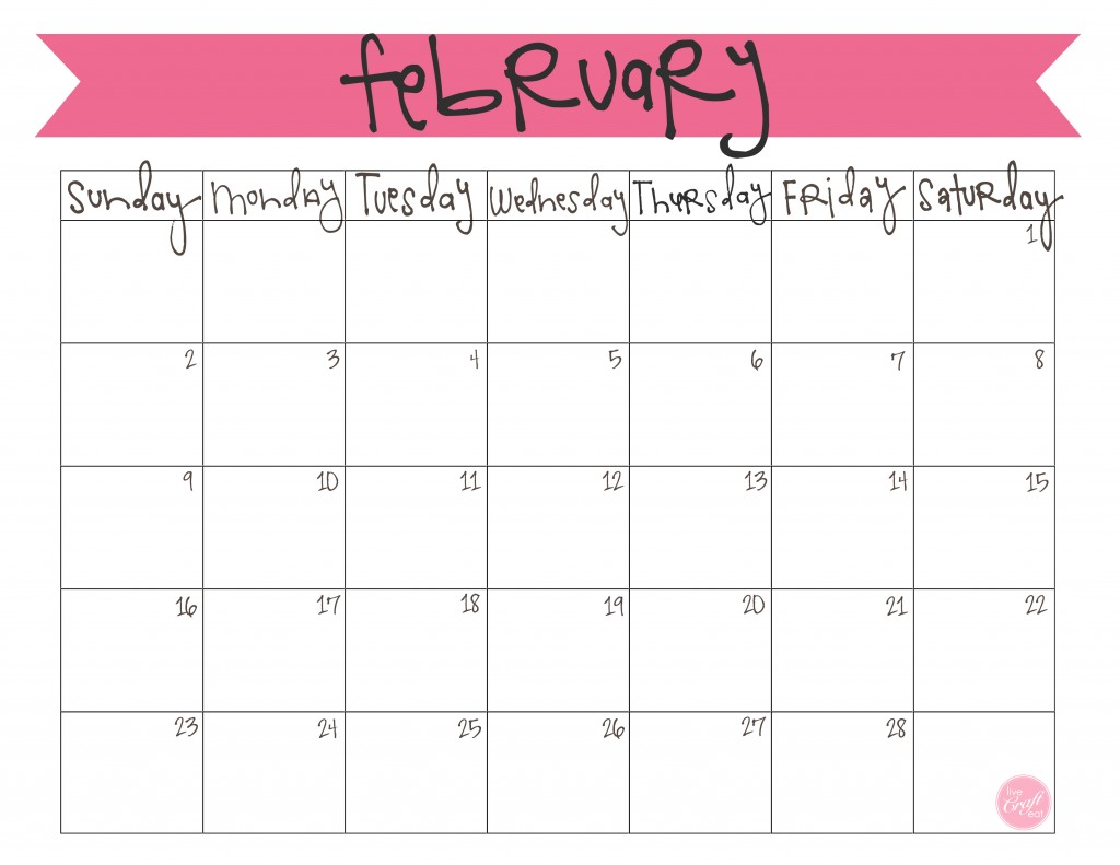 5 Images of Cute February 2016 Calendar Printable Free