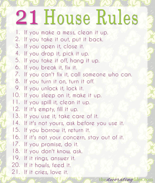8 Images of House Rules Printable For Guests
