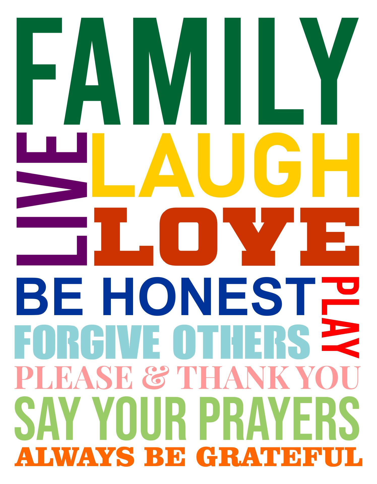 5 Images of Free Printable Family Rules Subway Art
