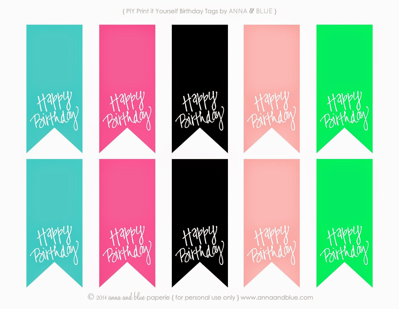 4 Images of Happy Birthday Printable Gift Tags