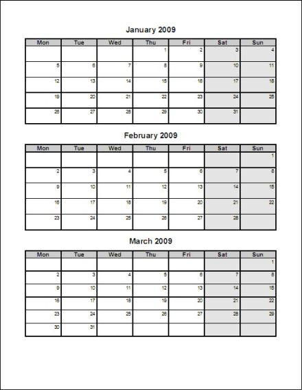 3 month calendars