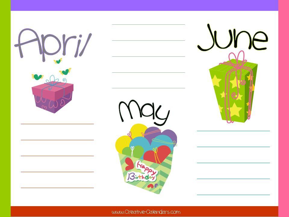Kids Birthday Calendar : Best images of birthday months printable