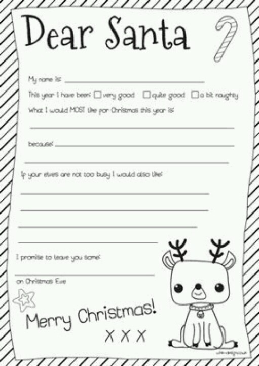 6 best images of letters to santa templates printables for Dear santa template kindergarten letter
