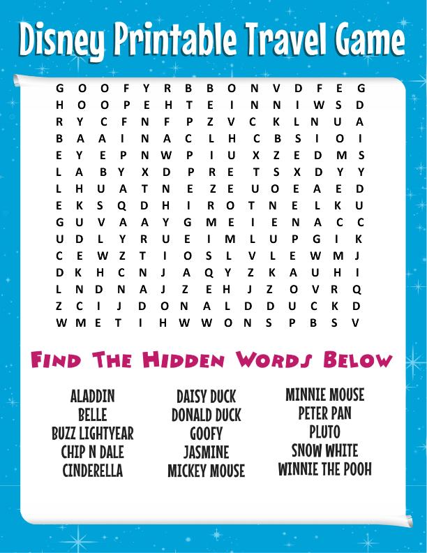 Free Printable Disney Word Search Games