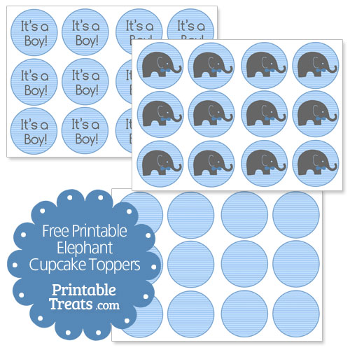 5 Images of Elephant Cupcake Topper Printable