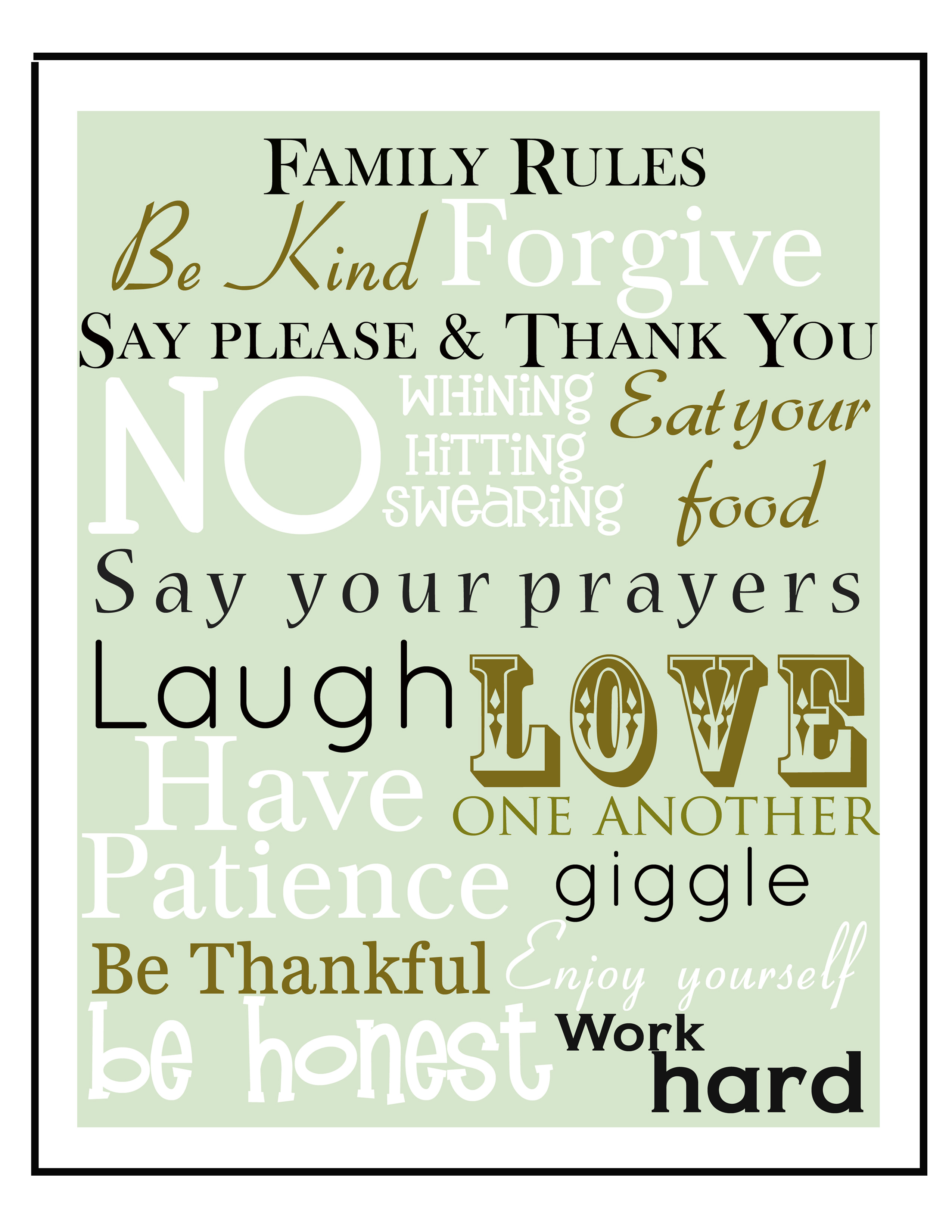 Printable Family Word Art