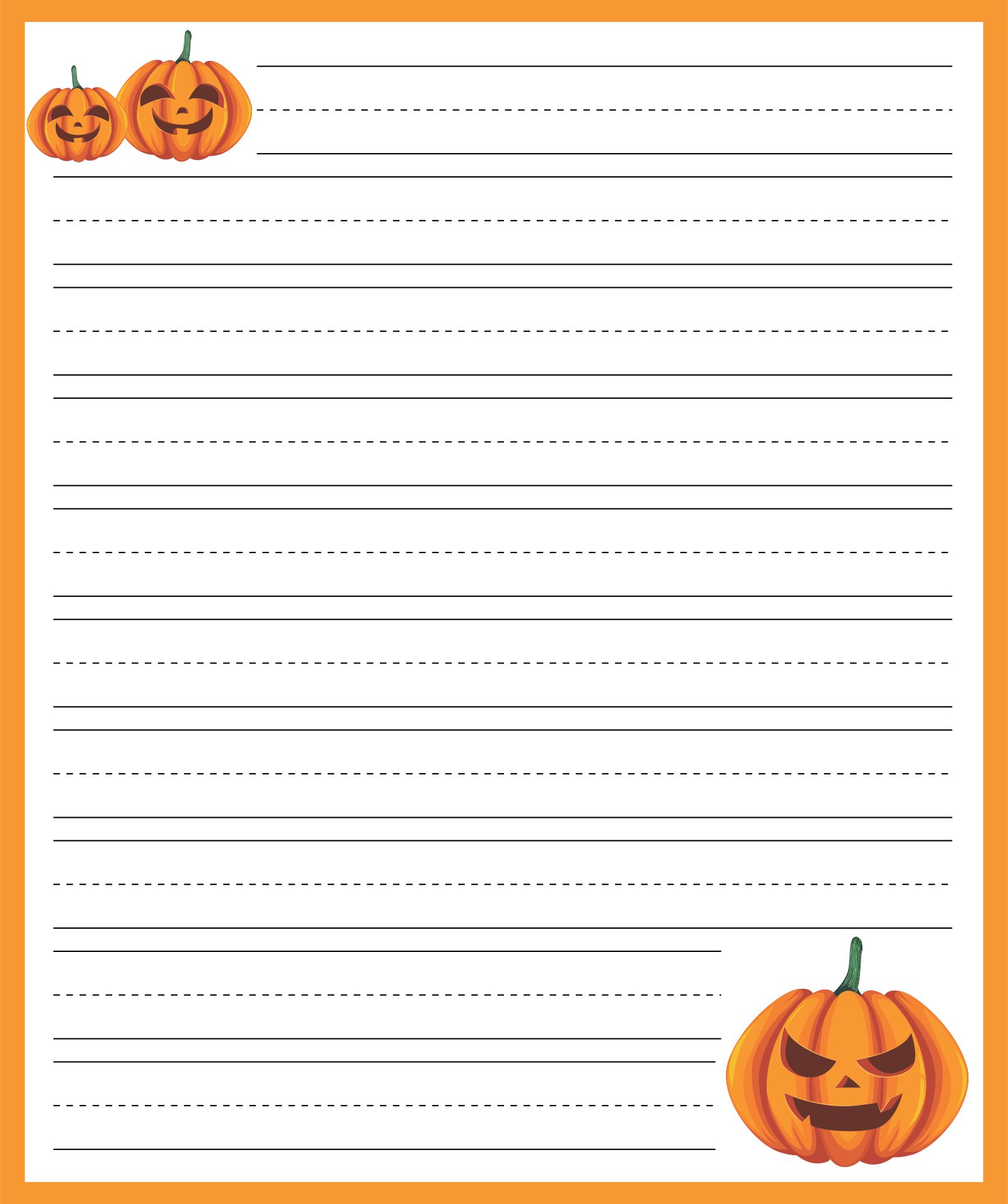 6 Images of Free Printable Halloween Lined Writing Paper