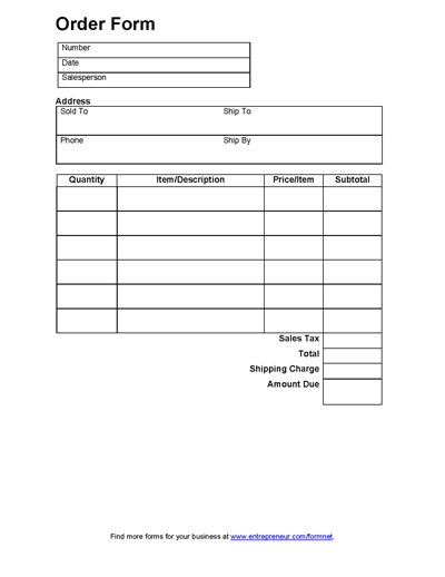 4 Images of Printable Generic Order Forms