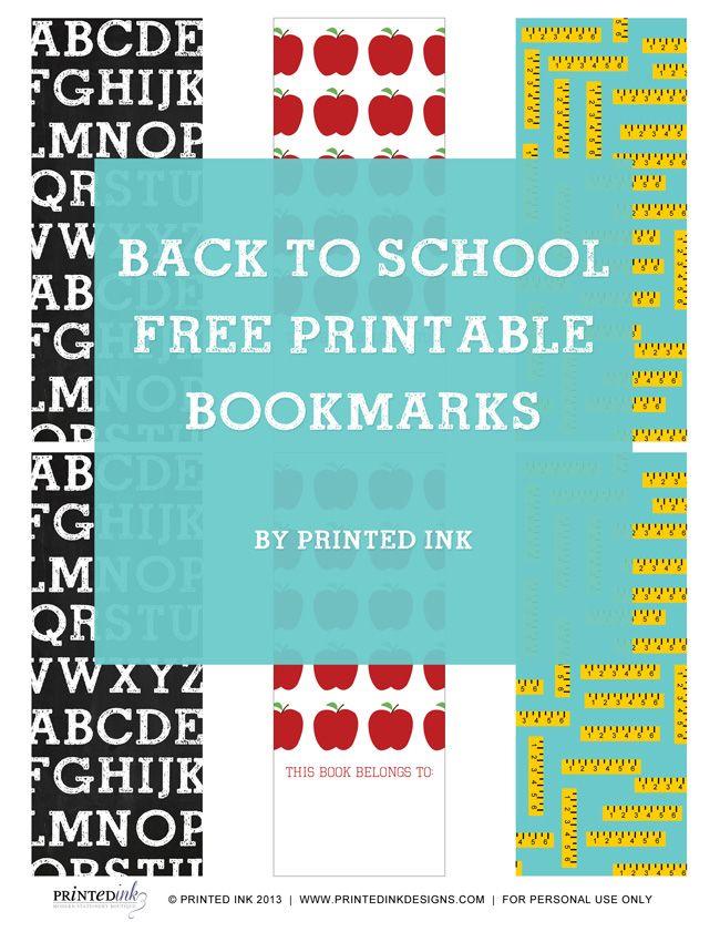 Free Printable School Bookmarks