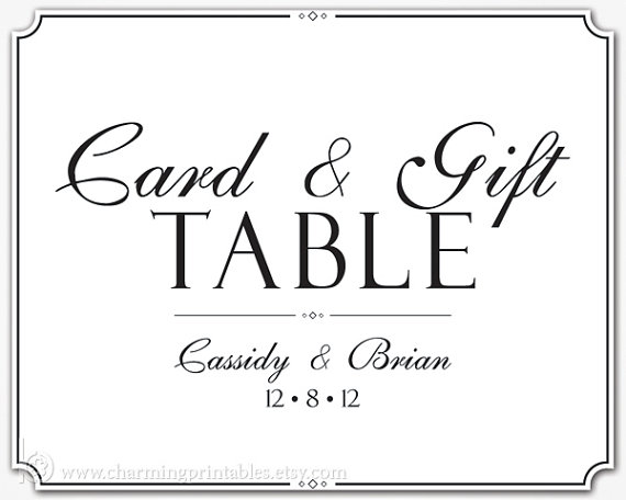 9 best images of free printable wedding card table sign for Free printable sign templates