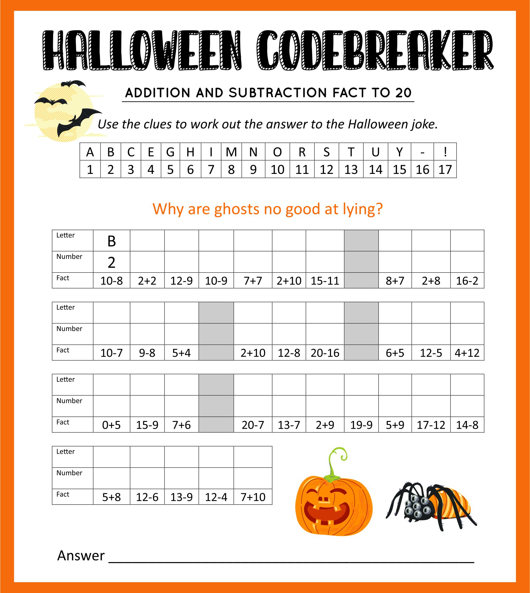 Halloween Math Worksheets 4th Grade