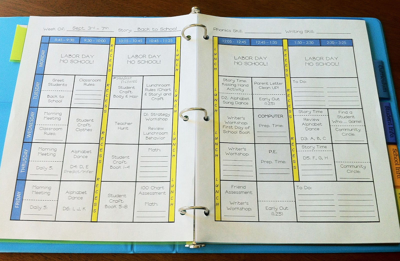 7 best images of teacher schedule template printable for Build your own planner online